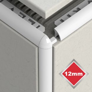 12MM NEW WHITE PVC CORNERS 2 PACK